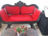 Quality couch in brilliant red velvet