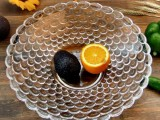 Crystal Glass Fruit Bowl – Bubble Pattern