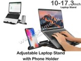 djustable Laptop Stand with Phone Holder 7 Angles Elevate Computer Stand Compatible with MacBook Air Pro, Dell XPS, HP, Lenovo 10-17.3inch Laptop Stand for Desk (Black)